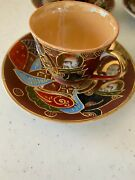 Set Of 4 1940s Hand Painted Occupied Japan Demitasse Tea Cup And Saucers