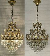 Matching Pair Of Antique Vintage Brass And Crystals Chandelier Ceiling Lamp Light