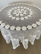Lace Tablecloth Vintage Crochet Hand Cotton White Handmade Round Table Antique