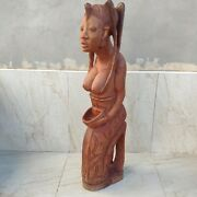Antique Large Sculpture Figure Wooden Statue African Woman Carved 39 98 Cm