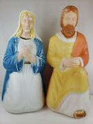 Vintage Poloron Plastic 26 Mary And Joseph Lighted Blow Mold Christmas Nativity