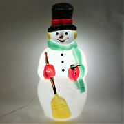 Vintage Christmas 39 Frosty The Snowman Lighted Blow Mold Grn Scarf Carrot Nose