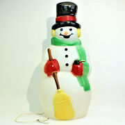 Vintage Christmas 39 Frosty The Snowman Lighted Blow Mold Carrot Nose Grn Scarf