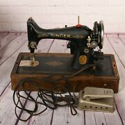 1929 Rare Antique Singer Sewing Machine Simanco Usa With Wooden Case