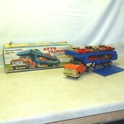 Vintage Marx Tin Auto Transport Truck + 12 Cars In Box Friction Toy Original