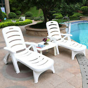 ❤patiojoy Patio Lounge Chair Chaise Weather Resistant Adjustable Recliner Wheels