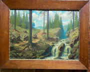 Oil Painting Clearing Forest Quelle Fir Resin Waterfall Sun Rays Moos Oil