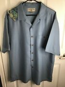 Menand039s Hook And Tackle Embroidered Fish Hawaiian S/s Limited Edition Blue Shirt L
