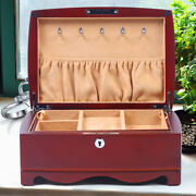 Multi-layer Wooden Jewelry Watch Ring Organizer Display Case Vintage With Key