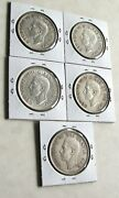 Lot 5 X Canadian Silver Dollar 1939 And 1949, King George Vi - See Details