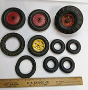 Vintage 1930and039s - 1960and039s Rubber Car Wheel Group Antique Cast Iron Truck Tractor