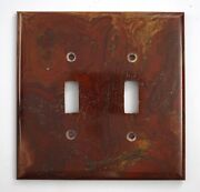 Red And Gold Onyx- 3 Double Toggle Switchplates Set E02 Natural Stone Décor