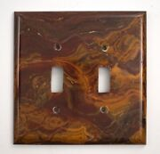 Red And Gold Onyx- 3 Double Toggle Switchplates Set E01 Natural Stone Décor