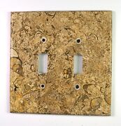 Spiral Fossil Marble- 3 Dbl Toggle Switchplates Set E02 Natural Stone Décor