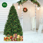 Pre-lit 7and039 Premium Spruce Artificial Christmas Tree Hinged 460 Led Lights Pine