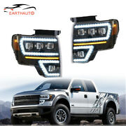 2x Led Projector Headlights /wsequential Turn Signal Kits For 09-14 Ford F150