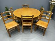Acorn Man Table And 6 Chairs Adzed Top Solid Oak Superb Manner Mouse Man