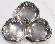 C1933 Sterling Silver Reed And Barton 3 Section Serving Tray Beehive Handle 478g