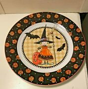 Mary Engelbreit At Home Young Witch Pumpkin Edge Dessert Round Plate 8 Inches