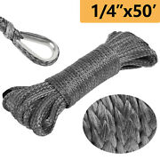 1/4x 50and039 10000lbs Synthetic Winch Line Cable Rope For Suv Utv Atv Winches Truck
