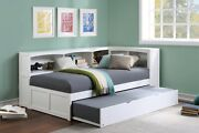 White Twin Corner Bookcase Bed With Trundle Bedroom Furniture