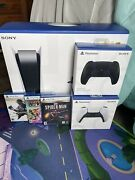 Sony Ps5 Blu-ray Edition Console White With Two Extra Controllers And Three Game