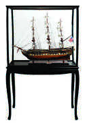 Wooden Model Ship - Uss Constitution - Fully Assembled - Floor Standing Case