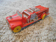 Old Vintage Toy Auburn F.d. Rubber Usa Fire Department Truck Red Yellow Wheels