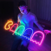 Pac Man Sign Led Light Neon Ghost Silhouette Arcade Decor Game Room Lighting