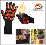 Bbq Grill Gloves, 1472°f Heat Resistant Barbecue Gloves Oven Mitts For Kitchen