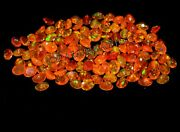Natural Ethiopian Orange Opal Faceted Aaa Fire Opal Oval Loose Gemstone 6x8 Mm