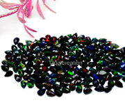 Natural Ethiopian Black Opal Pear Faceted Fire Opal 4x6 Mm Size Loose Gemstone