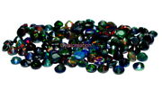 Natural Ethiopian Black Opal Faceted Round 6x6 Mm Black Aaa Fire Opal Gemstone