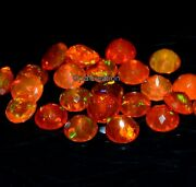 Natural Ethiopian Orange Opal Faceted Round Fire Opal Loose Gemstone 10x10 Mm
