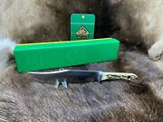 1980 6396 Bowie Knife With Stag Handles In Green/yellow Box+++++
