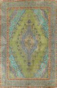 Antique Overdyed Tebriz Floral Area Rug Evenly Low Pile Oriental Handmade 9and039x13and039