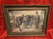 """Pre-prohibition Antique Green River Whiskey Tin Sign Antique Wood Frame 25""""x19"""""""