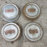 Vintage Four Ford Pickup Truck Dog Dish Center Caps Hubcaps Wheel Covers