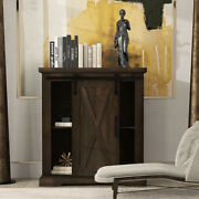Amolife Farmhouse Accent Wood Storage Cabinet With Sliding Barn Door