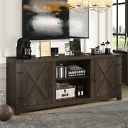 Amolife Farmhouse Tv Stand, 58 Entertainment Center With Storage Cabinet