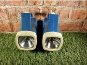 Vintage Retro Pair Of Ever Ready Torches Lamps Flashlights Blue Rare 1970s