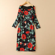 Hot Sale Christmas Occident Rose Printed Long Sleeve Fashion Open Fork Hot Dress