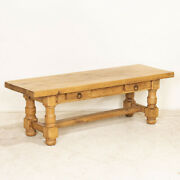 Antique Oak Narrow Coffee Table With Two Drawers