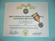 Full Size Honorable Service Medal/ribbon/certificate Us Army Usn Usaf Usmc Uscg