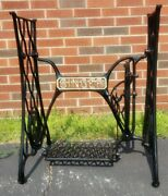 Antique 1910 Singer Treadle Sewing Cast Iron Base Paint Restored With Gold Trim
