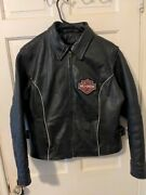 Hot Leather Womanandrsquos Harley-davidson Black Jacket Pink Accents And Patches -sz Xl