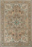Vintage Muted Geometric Heriz Oriental Area Rug Wool Hand-knotted Carpet 7x10 Ft