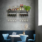 Industrial Wine Racks Wall Mounted With 8 Stem Glass Holder Rustic Metal Hanging