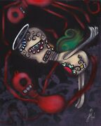 In Between By Abril Andrade Devil And Angel Sugar Skull Wood Framed Fine Art Print