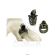Natural Diamond Skull Ring 925 Sterling Silver Antique Rings For Womens